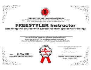 Freestyler Certificate